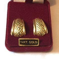 Vintage 14K Yellow Gold Etched Half Hoop Pierced Earrings 3g #Hoop