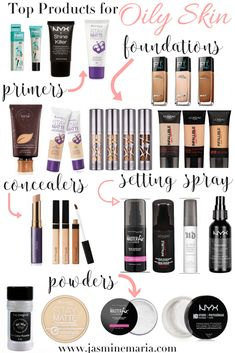 Top Makeup Products for Oily Skin - Jasmine Maria - Makeup Tips , Top Makeup Products for Oily Skin - Jasmine Maria Oily skin? Here are my top makeup products for oily skin girls. Oily Skin Makeup, Oily Skin Care, Makeup Dupes, Eyeshadow Dupes, Dry Skin, Makeup Brushes, Skin Primer, Best Primer For Oily Skin, How To Grow Eyebrows