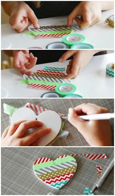 washi tape ornaments steps 1&2