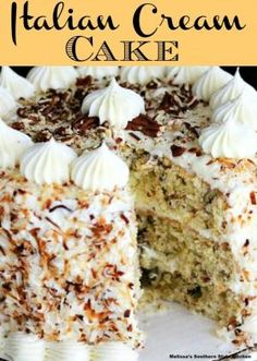 Italian Cream Cake is a spectacular cake perfect for holidays, birthdays and celebrations. Italian Creme Cake Recipes, Italian Cream Cheese Cake, Italian Cake, Italian Cookies, Best Cake Recipes, Healthy Dessert Recipes, Sweets Recipes, Delicious Desserts, Favorite Recipes