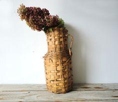 Woven Basket Floor Vase by OceanSwept on Etsy, $19.00