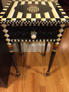 """Pineapple table/nightstand hand painted by Lisa Guagnini Williamson. Inspired by Mackenzie-Child's  (15 3/4""""wide x 14""""deep x 28 1/4"""" tall)     $320"""