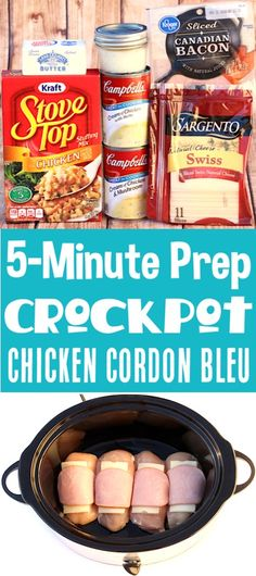 Crockpot Chicken Recipes Easy Crock Pot Cordon Bleu With just 5 minutes of prep you ll love how fast and easy this delicious dinner is to make It s the ultimate comfort food and even the kids will love it Go grab the recipe and give it a try Crockpot Chicken Cordon Bleu, Easy Crockpot Chicken, Slow Cooker Chicken, Easy Chicken Recipes, Easy Recipes, Fast Crock Pot Recipes, Crockpot Chicken And Stuffing, Easy Comfort Food Recipes, Beef Recipes