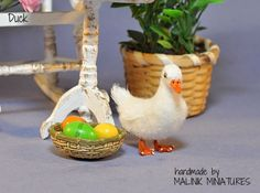 Dollhouse Miniature Realistic Handmade Duck OOAK bird - Malinik Miniatures