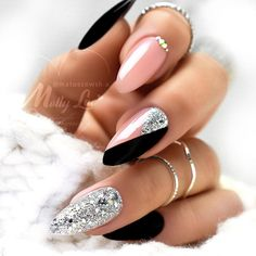 Glam Nails, Bling Nails, Nail Manicure, Cute Nails, Pretty Nails, Manicure Ideas, Fabulous Nails, Perfect Nails, Gorgeous Nails