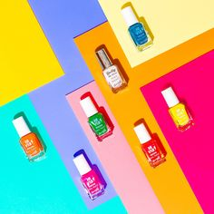 Fun colourful beauty product content creation for Barry M cosmetics. Styled makeup product stills photography by Marianne Taylor. Still Photography, Creative Photography, Product Photography, Foto Still, Advertising Photography, Barry M Nails, Barry M Cosmetics, Creative Advertising, Happy Colors