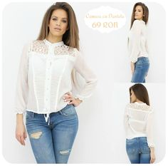 Chic Shirt with refined insertions.a real treat for your wardrobe.:) Item available at www. Shirt Outfit, Style Fashion, Outfit Ideas, Ruffle Blouse, Chic, Lace, Shirts, Outfits, Clothes