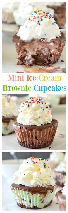 Mini Ice Cream Brownie Cupcakes - a chewy brownie layered with ice cream and topped with a smooth and rich chocolate ganache!