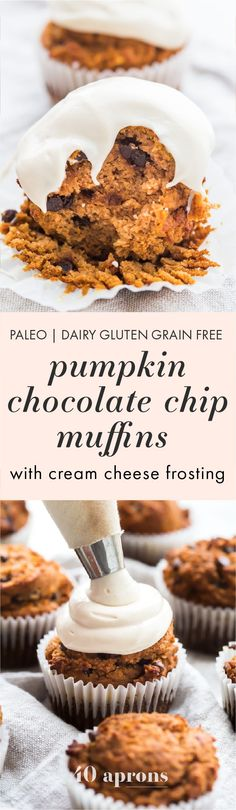 These paleo pumpkin chocolate chip muffins with cream cheese frosting are the perfect paleo fall recipe or paleo pumpkin recipe! They're moist and tender, loaded with pumpkin purée, dairy-free chocolate chips, and topped with a tangy but sweet frosting. And yep, they're entirely paleo. These paleo pumpkin chocolate chip muffins with cream cheese frosting are actually easy to make, too, so they'll become your very favorite paleo fall recipe or paleo pumpkin recipe for sure!