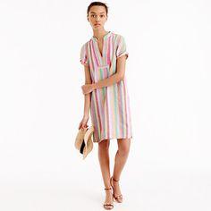 "What we do: stripes. This bright candy-colored take was inspired by a vintage dress our designers found, and we love how happy and summery it is. <ul><li>Straight silhouette.</li><li>Falls above knee, 36 3/4"" from high point of shoulder (based on size 6).</li><li>Cotton/linen/ramie.</li><li>On-seam pockets.</li><li>Machine wash.</li><li>Import.</li></ul>"