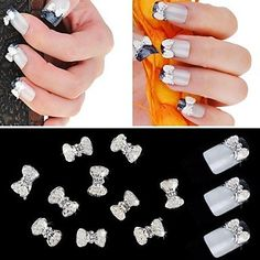 QINF 10PCS 3D Alloy Nail Sticker Manicure Pearl Inlaid Diamond Super Flash Bow Nail Art Decorations ** See this great product.