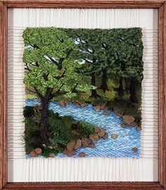 Bend in the River Weaving Wall Hanging, Weaving Art, Tapestry Weaving, Loom Weaving, Hanging Wall Art, Yarn Crafts, Diy And Crafts, Popular Crafts, Ribbon Art