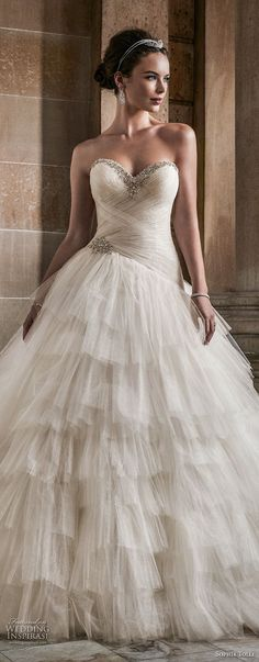 sophia tolli fall 2017 bridal strapless sweetheart neckline light embellished ruched bodice layered skirt princess ball gown wedding dress royal train (2) lv -- Sophia Tolli Fall 2017 Wedding Dresses
