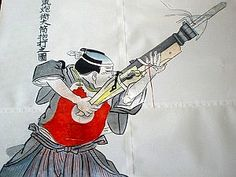 O-zutsu (hand cannon) firing a bo-hiya (fire arrow).