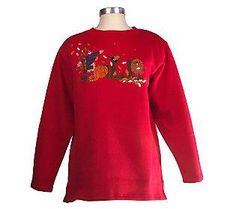 "Quacker Factory ""Fall"" Embroidered Sweatshirt Lady's size Large ($14.99)"