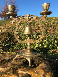 Vintage Brass Bell Gong Candelabra Bell On by YellowHouseDecor