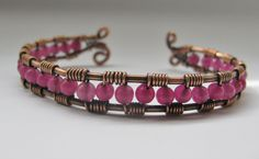 Copper Wire Wrapped Cuff Bracelet with Fuchsia by GeishaCreations, $30.00