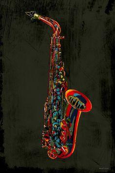 Sax Graphic Art on Canvas