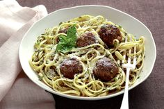 NYT Cooking: Pasta With Green Meatballs and Herb Sauce
