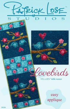 Lovebirds digital pattern tablerunner that matches placemats
