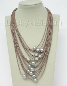 17 -24 15row 14mm Gray pearls coffee leather necklace magnet clasp j8804