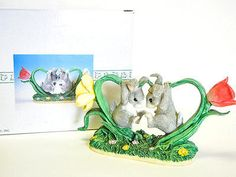 Fitz And Floyd Charming Tails Dean Griff Bunny Buddies With FLowers Figurine