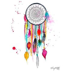 Dream Catcher #3, Print of Original Watercolor Painting ❤ liked on Polyvore featuring home, home decor, wall art, water color painting, water colour painting, watercolour painting, watercolor wall art and watercolor painting