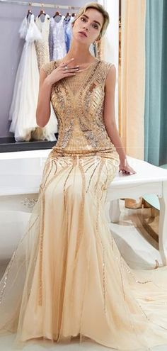 Mermaid Round Neck Cap Sleeves Tulle Long Prom Dresses With - Proom Dress Fitted Prom Dresses, Unique Prom Dresses, Prom Dresses For Sale, Tulle Prom Dress, Long Wedding Dresses, Mermaid Prom Dresses, Party Dresses, Custom Dresses, Pageant Dresses