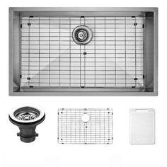 Vigo 30 inch Undermount Stainless Steel Kitchen Sink, Grid and Strainer, Silver