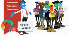 We are Huemans - An easy to use but powerful modular, pre-rendered 3D template, allowing you to customize an appealing animated character, and quickly connect together sequences of professional animation.  This project's aim, is to enable users without access to the time or budget required for bespoke character work, to easily generate an animated 'Hueman' mascot. Add your Hueman to existing video projects, or use the template to create engaging custom stories.