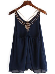 Navy Chain Strap Chiffon Cami Top -SheIn(Sheinside) Mobile Site