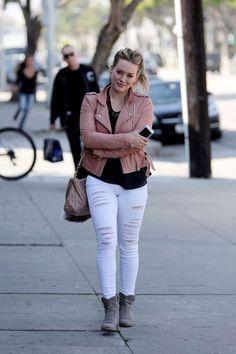 hilary duff frame denim white Hilary Duff in Frame Denim Le Color Ripped Skinny Jeans in Blanc