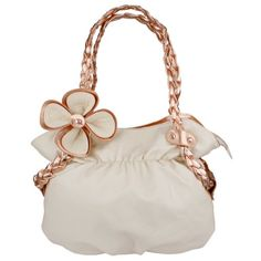 CANDICE Flower Beige / Copper Soft Leatherette Metallic Weaved Double Handle Shoulder Bag Satchel Hobo Purse Handbag