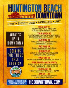 Events, Marketing - Huntington Beach Downtown Business Improvement District - Huntington Beach, Ca Downtown Events, Small Business Saturday, Surf City, Art Walk, Chamber Of Commerce, Tree Lighting, Huntington Beach, Night Life, Surfing