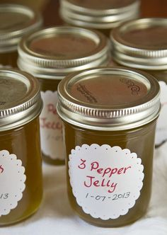 Three Pepper Jelly - La Fuji Mama Three Pepper Jelly Recipe — sounds great, too bad I don' Pepper Jelly Recipes, Hot Pepper Jelly, Serrano Pepper Jelly Recipe, Jalapeno Jelly, Stuffed Anaheim Peppers, Stuffed Hot Peppers, Canning Recipes, Preserving Recipe, Homemade Jelly