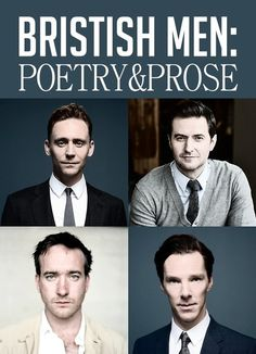 Poetry and Prose read by British men: Tom Hiddleston, Benedict Cumberbatch, Richard Armitage, Kenneth Branagh, Matthew McFadyen and more. Tom Hiddleston, Richard Armitage, Benedict Cumberbatch, Jane Austen, Kenneth Branagh, My Sun And Stars, British Actors, British Guys, Raining Men