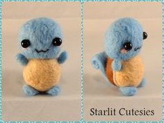 Yay, Squirtle, one of my favourite starters! Charmander is next! :3Squirtle is 3 inches tall and 1 1/2 inches wide.If you'd like to see more pictures or want to buy him he's listed here: www.etsy.c...
