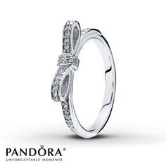 Perfectly tied and traced in clear cubic zirconias, a bow decorates this sterling silver ring for her from the Pandora Mother's Day 2014 collection. Available online in size 7 (European size 54). Additional sizes may be available through special order at your nearest Jared location. Style # 190906CZ-54.