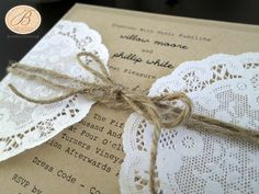 Rustic wedding invitation with twine and doily - ideal for a country/ vintage/ vineyard/ barn/ shabby chic wedding
