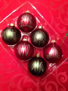 Pinstriped ornaments