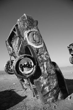 "Route 66 - One of ten Cadillacs stuck in the ground in a cow field near Amarillo, Texas, on old Rt. 66. ""The Fine Art Photography of Frank Romeo."""