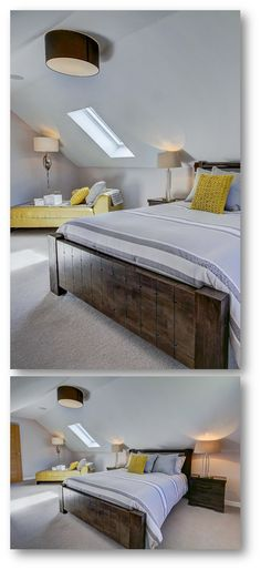 Amazing attic bedroom with angled ceiling window including rustic bed & table and ottoman bench and bedding in yellow and grey accents!