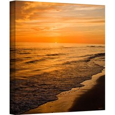 ArtWall Antonio Raggio 'Serene Sunset' Gallery-Wrapped Canvas ($109) ❤ liked on Polyvore featuring home, home decor, wall art, canvas wall art, contemporary wall art, landscape wall art, contemporary home decor and sunset wall art