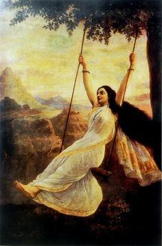 Mohini (Raja Ravi Varma Reprint on Paper - Unframed) Ravivarma Paintings, Indian Art Paintings, Classic Paintings, Beautiful Paintings, Abstract Paintings, Sexy Painting, Woman Painting, Potrait Painting, Painting Portraits