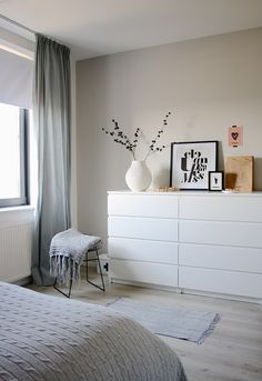 Another grey and white bedroom with a hint of pink. Bedroom by Holly Marder —- white dresser Another grey and white bedroom with a hint of pink. Bedroom by Holly Marder —- white dresser Ikea Malm Dresser, Bedroom Styles, Room Inspiration, Bedroom Decor, Bedroom Ideas, Cozy Bedroom, Ikea Bedroom White, Bedroom Small, Trendy Bedroom