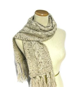 Oatmeal Cable Knit Scarf  Perfect for the by ArlenesBoutique, $60.00