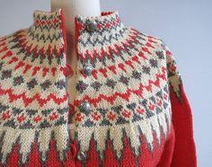 Vintage Nordic Wool Fair Isle Cardigan & Hand by zestvintage Wire Crochet, Knit Crochet, Fair Isle Knitting, Hand Knitting, Norwegian Knitting, Nordic Sweater, Hand Knitted Sweaters, Wool Cardigan, Coral Pink