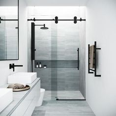 VIGO Elan H x to W Frameless Bypass/Sliding Matte Black Shower Door (Clear Glass) at Lowe's. The VIGO Elan adjustable Frameless shower door is everything you want and need to complete your modern bathroom remodel. Vigo Shower Doors, Frameless Sliding Shower Doors, Glass Shower Doors, Bathtub Doors, Sliding Doors, Entry Doors, Bathroom Shower Doors, Shower Over Bath, Small Bathroom With Shower
