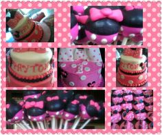 Minnie mouse cakes, cup cakes and cake pops.