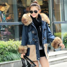 2015 New Arrival Winter Women's Thicken Denim Jacket With Fox Fur Collar Outwears chaquetas mujer Jeans Jackets Casual Slim Warm-in Basic Jackets from Women's Clothing & Accessories on Aliexpress.com | Alibaba Group